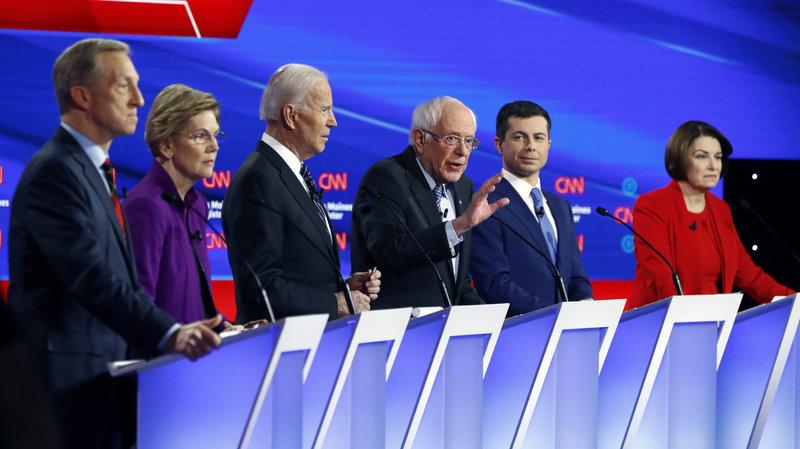 Elizabeth Warren, Joe Biden, Bernie Sanders, Pete Buttigieg, Amy Klobuchar (not pictured), Tom Steyer (not pictured, and Andrew Yang (not pictured) duke it out during the February 7th Democratic Debate.