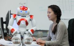 Student Erin Paengworks on human-robot trust in Harvey Mudd College's Human Experience and Agent Teamwork lab