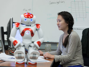 Student Erin Paeng works on human-robot trust in Harvey Mudd College