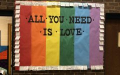 A bulletin board for GSA outside of Ms. Davis' office. GSA is advised by Ms. Davis and Ms. Hollywood.