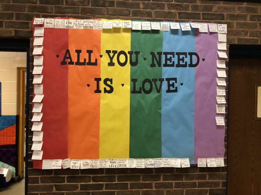 A bulletin board for GSA outside of Ms. Davis office. GSA is advised by Ms. Davis and Ms. Hollywood.