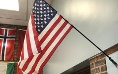 A flag hanging in Library 2.